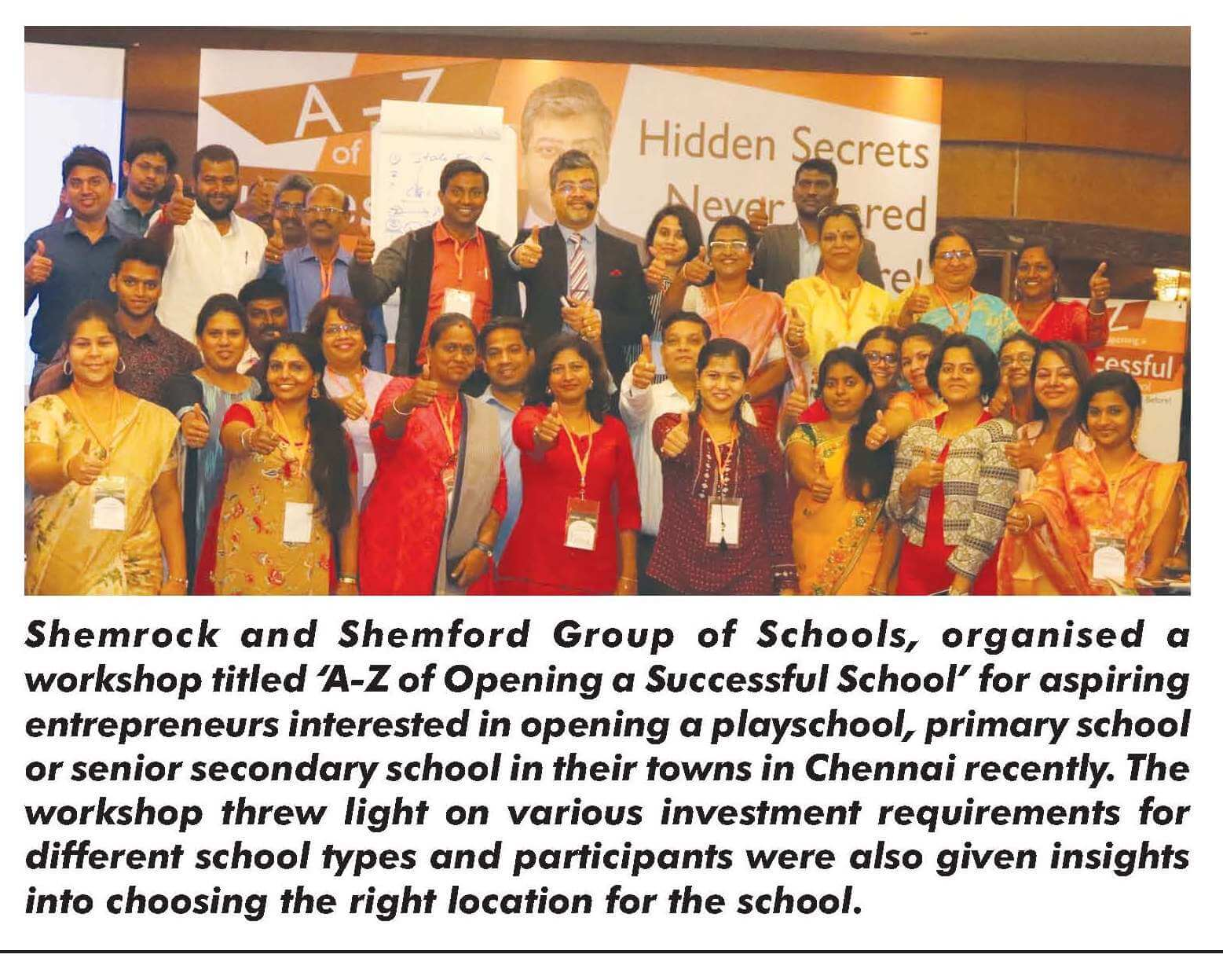 Shemrock and shemford group of schools Workshop in chennai